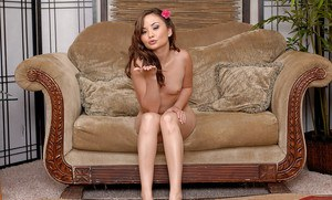 Petite Oriental amateur Kita Zen posing fully clothed before undressing