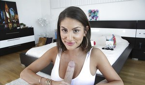 Busty girlfriend August Ames takes cum on her face after giving bowjob