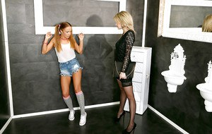 Young redhead in knee high socks with pigtails is face fucked by dildo