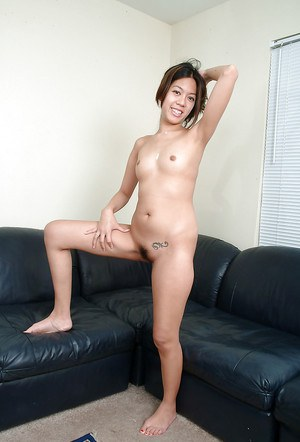 Petite Asian amateur Starlingz flashing hanging pussy lips on couch