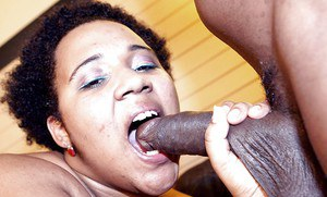 BBBW Kitten giving a black cock a blowjob in this black on black sex scene