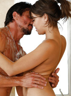 Big boobed Asian chick Cassidy Banks giving reach around handjob in shower