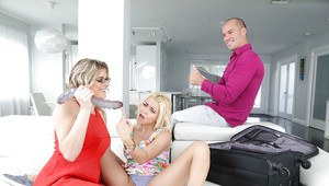 Blonde stepmom Cory Chase toys stepdaughter Marsha May's teen pussy