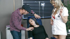 Blonde nurse Julia Ann fucking man while his girlfriend sleeps