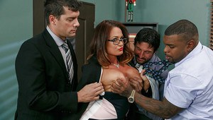 Filthy MILF Tory Lane taking many cumshots on face in gangbang action