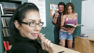 Busty teen Jean Michaels having her cunt ate out by teacher in classroom