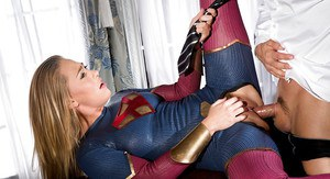 Blonde cosplay attired chick Carter Cruise deepthroating cock on her knees