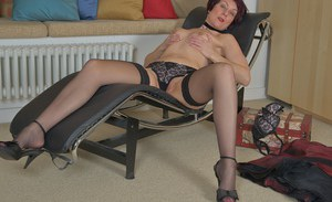 Classy older doll Penny Brooks modeling in underwear and nylons