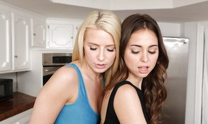 Hot teen girls Riley Reid and Anikka Albrite kiss and lick pussy in kitchen