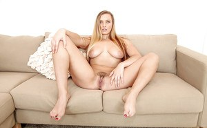Busty blonde chick Layna Landry parts labia lips after pulling panties down