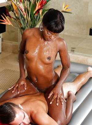 Fit ebony chick Ana Foxx giving white guy a sexy nuru massage