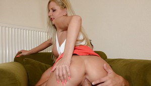 Chesty blonde woman Summer having whipped cream licked off nipples