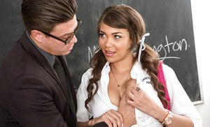 Young and buxom 18 year old slut Cassidy Banks fucking her schoolteacher