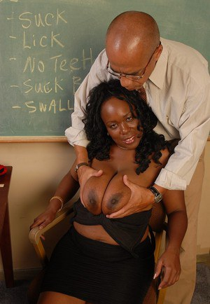 Chesty black plumper Yvette takes an external cumshot from behind