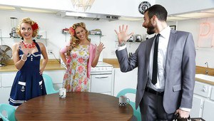 Retro pinup models Aaliyah Love and Cherie Deville tribbing in kitchen