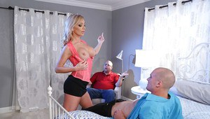 Hot blonde wife Destiny Dixon giving a blowjob while cuckold hubby watches