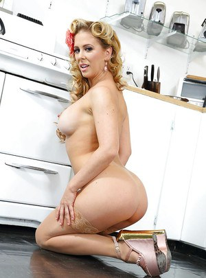 Retro model and mommy Cherie Deville models vintage underwear and hose