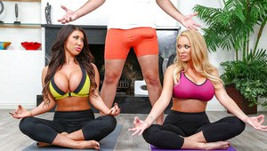 Chesty chicks August Taylor and Summer Brielle blow yoga teacher
