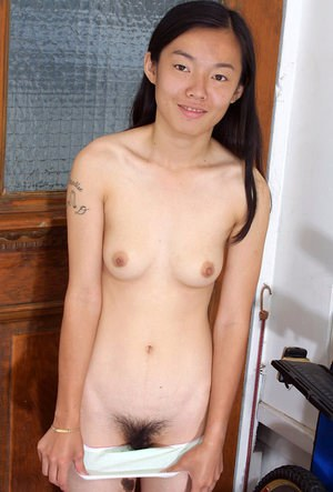 Petite Japanese amateur Tiffany undressing for hairy vagina viewing