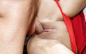 Barely legal amateur chick Adrian Maya jacking huge dick outdoors