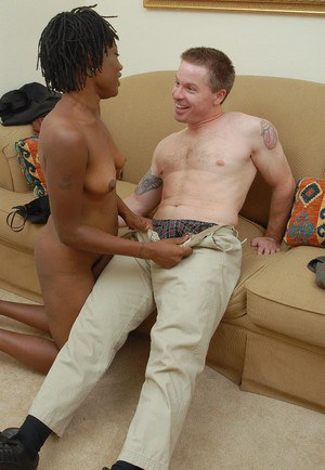 Black lady Cat gives white guy a blowjob and takes cumshot on face