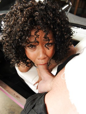 Hot black chick Misty Stone giving long white cock a blowjob