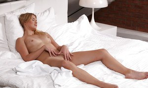 Young blonde babe Violette masturbating shaved young girl pussy