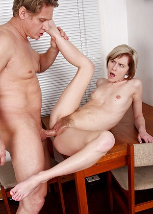 Short haired blonde first timer Kelly Klass receiving cunnilingus