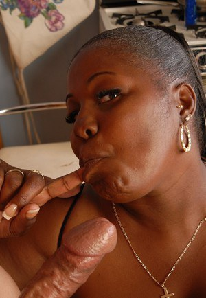 Overweight black woman Subrina tit fucking cock with massive juggs