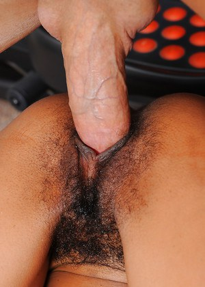 Mixed race first timer Neela Sky having her hairy pussy licked out