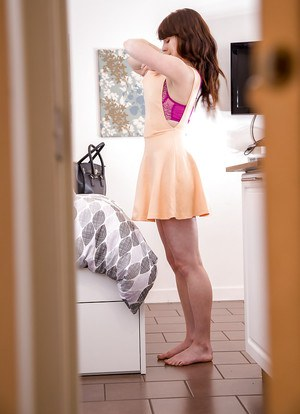 Sexy brunette amateur Hailey caught getting dressed on hidden camera