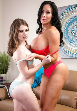 Older lesbian Sybil Stallone seduces teen hottie Alice March for sex