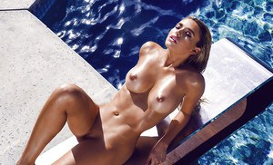 Top rated blonde babe Monica Sims letting perfect tits free outdoors