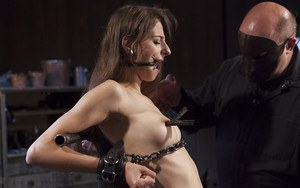Barely legal cutie Willow Hayes undergoing first time BDSM porn shoot