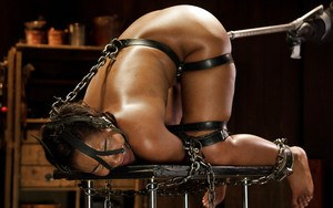 Ebony hottie Chanell Heart used as sex slave with ball gag in mouth