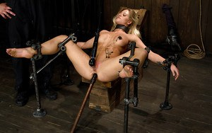 Machine fucking of restrained anus belong to busty blonde Holly Heart