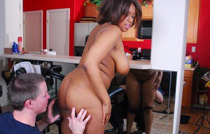 Chubby ebony MILF over 30 Aleera sporting creampie after fucking whitey