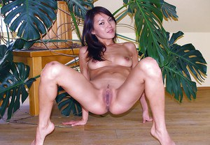 Asian first timer Agnes flaunting young girl pussy up close