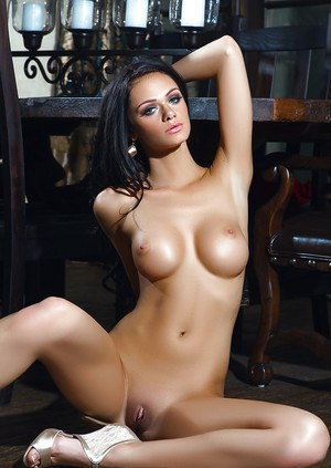 Stunning brunette centerfold model Victoria Barrett shows off perfect tits