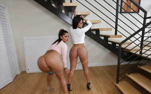 Latina moms Spicy J and Diamond Kitty flaunting by butts during lesbian sex