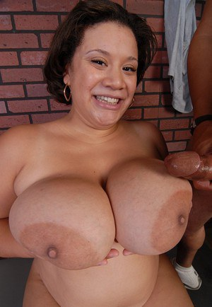 Black fatty Monet having huge saggy tits released before giving blowjob