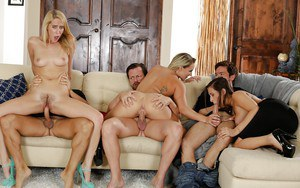 Ashley Adams, Cali Carter and Cadence Lux take cum on face during orgy sex