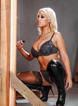 Latina solo girl Bridgette B posing non nude in lingerie, hosiery and boots