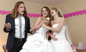 Teen wedding with pornstars Dillion Harper and Kimmy Granger lead to 3some