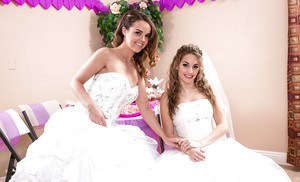 Lesbian teen pornstars Dillion Harper and Kimmy Granger pose on wedding day
