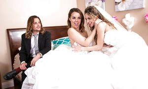 Teen pornstars Dillion Harper and Kimmy Granger have 3some on wedding night