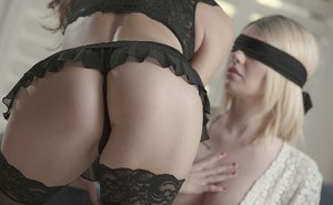 Blindfolded lezdom sex with lesbian girlfriends Celeste Star and Emma Mae