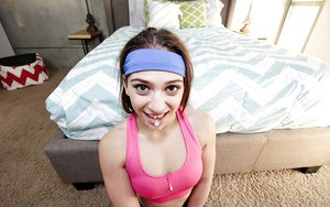 Teen amateur Sara Luvv taking hardcore sex from large cock in yoga pants