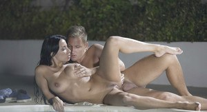 Hardcore outdoor anal fucking beside pool for busty Latina Anissa Kate