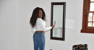 Amateur black chick in jeans Honey Droppz baring big tits and phat ass